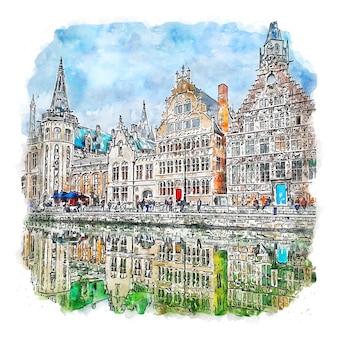 Gent belgië aquarel schets hand getekende illustratie