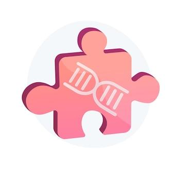 Gentechniek, genetisch laboratorium. modern wetenschappelijk onderzoek, biochemielab, ontwerpelement voor microbiologieideeën. puzzel met dna-helix. vector geïsoleerde concept metafoor illustratie
