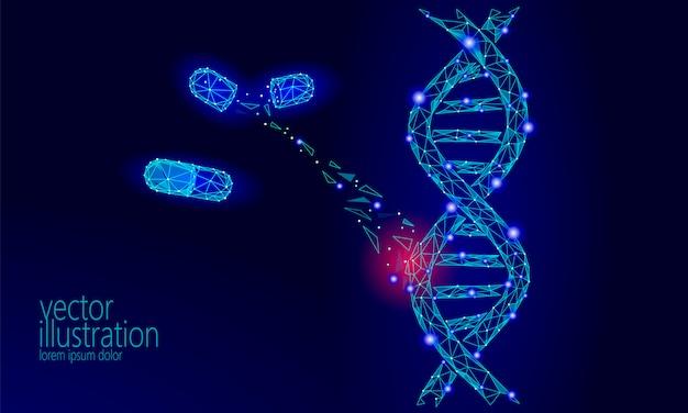 Gentherapie dna 3d chemische molecuulstructuur laag poly,