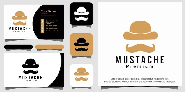 Gentleman bowler moustache logo ontwerp
