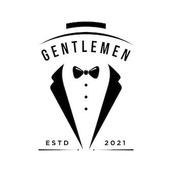 Gentleman stropdas illustratie logo ontwerp vector sjabloon
