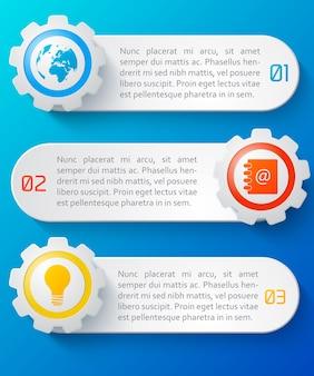 Genummerde horizontale abstracte banners van het bedrijfswebontwerp die met kleurrijke geïsoleerde pictogrammen worden geplaatst