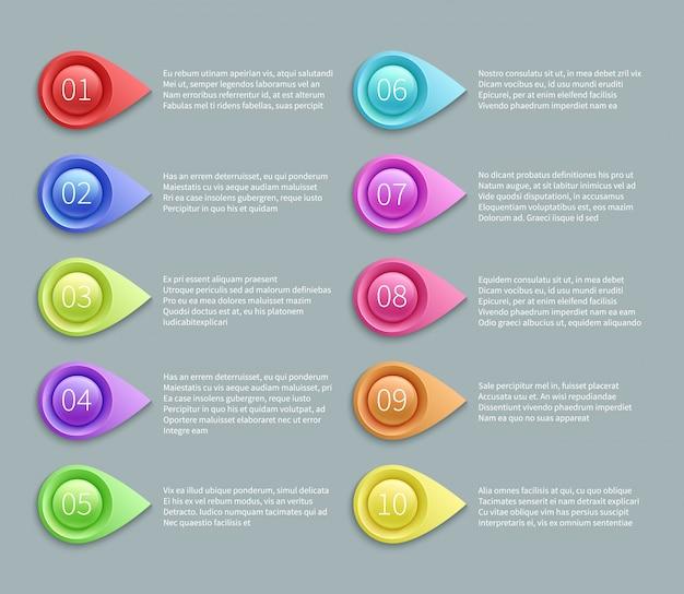 Genummerde tekst vectorlay-out met 3d richtende kogels. nummer aanwijzer plan infographic illustratie