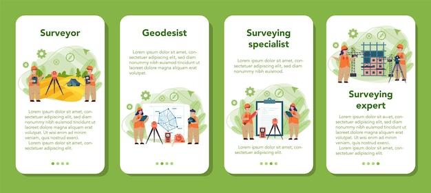 Geodesie wetenschap mobiele applicatie banner set. landmeettechniek. engineering en topografische apparatuur. mensen met kompas andmap.