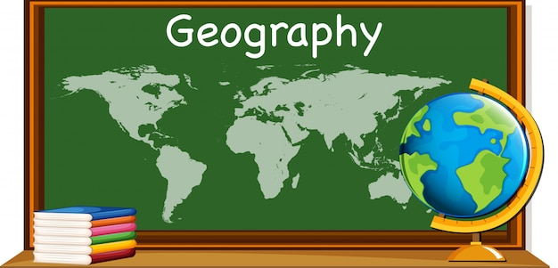 Geografie onderwerp met wereldkaart en boeken