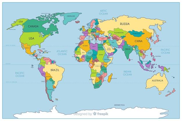 Geografisch gekleurde politieke wereldkaart
