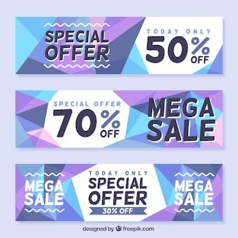 Geometical verkoop banners set