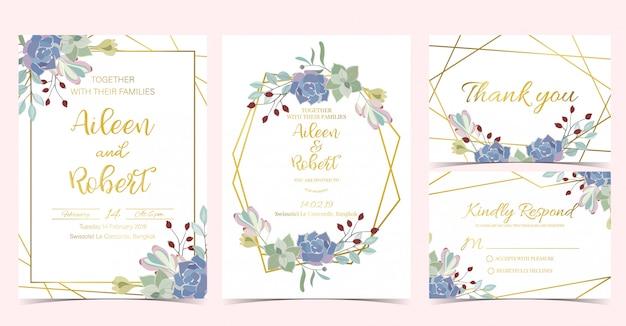 Geometrie chique bruiloft uitnodiging
