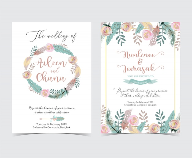 Geometrie gouden bruiloft uitnodigingskaart met bloem, blad, kroon en frame