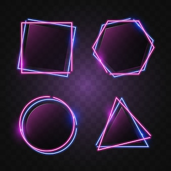 Geometrie neon banner in blauw & paars licht.