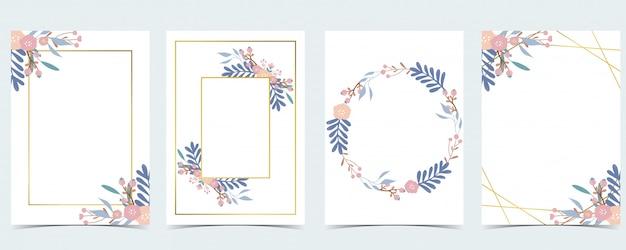 Geometrie roze gouden bruiloft uitnodigingskaart met roos, blad, krans, veer en frame