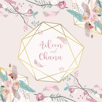 Geometrie roze gouden bruiloft uitnodigingskaart met roos