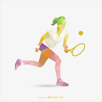 Geometrie tekening van tennis vrouw speler