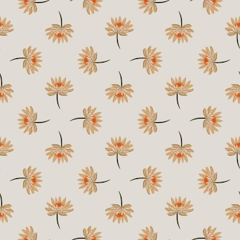 Geometrisch abstract naadloos patroon met het hand getrokken oranje ornament van de madeliefjebloem.
