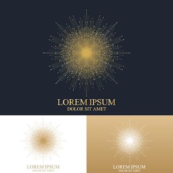 Geometrisch abstract rond logo. gouden mandala met aaneengesloten lijn en stippen. grafische compositie voor geneeskunde, wetenschap, technologie, scheikunde. molecuul logo. vector logo sjabloon.