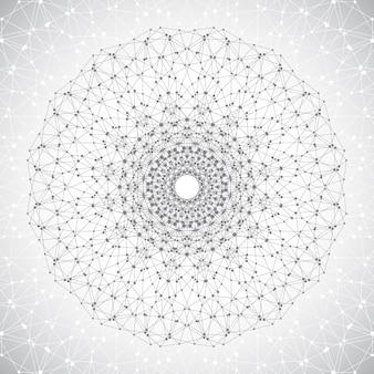 Geometrisch abstract rooster met verbonden lijn en stippen ronde grijze vorm van het molecuul grafische comp...