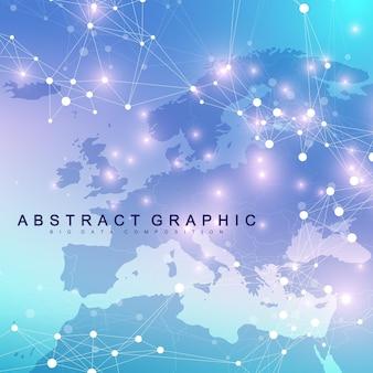 Geometrisch abstracte achtergrond met aaneengesloten lijn en punten. netwerk- en verbindingsachtergrond voor uw presentatie. grafische veelhoekige achtergrond. wetenschappelijke vectorillustratie.