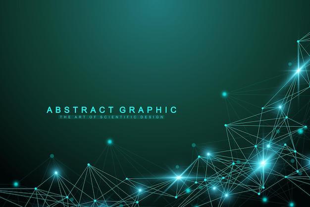 Geometrisch abstracte achtergrond met aaneengesloten lijn en stippen grafische achtergrond voor uw ontwerp vector...