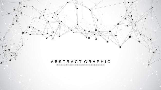 Geometrisch abstracte achtergrond met aaneengesloten lijnen en punten. connectiviteit stroompunt. molecuul en communicatie achtergrond. grafische verbindingsachtergrond voor uw ontwerp. vector illustratie.