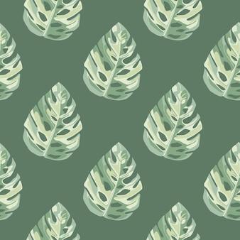 Geometrisch botanisch naadloos patroon met monsterabladeren in witte en groene kleuren. Premium Vector