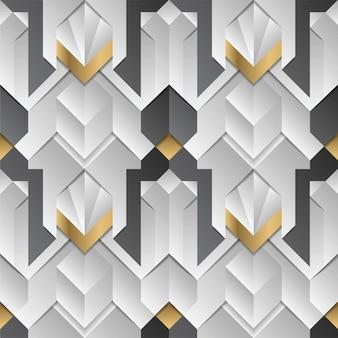 Geometrisch decor strepen wit en gouden element