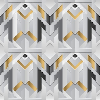 Geometrisch decor strepen wit en gouden element