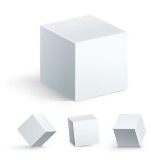 Geometrisch element, collectie vorm geometrie figuur. kubuspictogram dat in perspectief wordt geplaatst dat op witte achtergrond wordt geïsoleerd