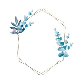Geometrisch frame met bladerenvector
