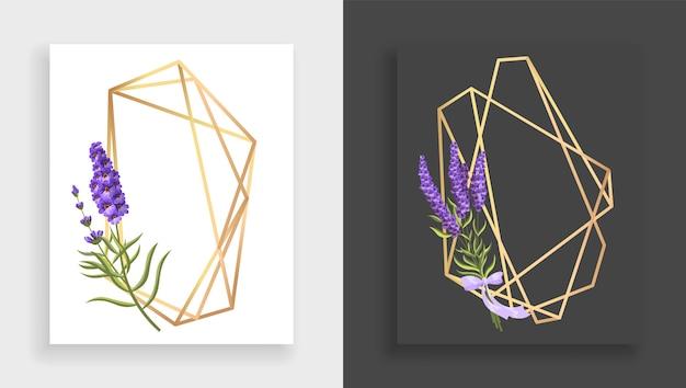 Geometrisch frame veelvlak. abstract gouden bloemenkader met bladeren en tak van lila