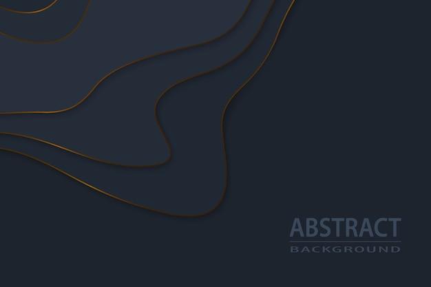 Geometrisch gesneden papier zwarte luxe achtergrond met gouden elementen