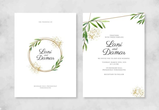 Geometrisch goud voor huwelijksuitnodiging met aquarel gebladerte en glitter
