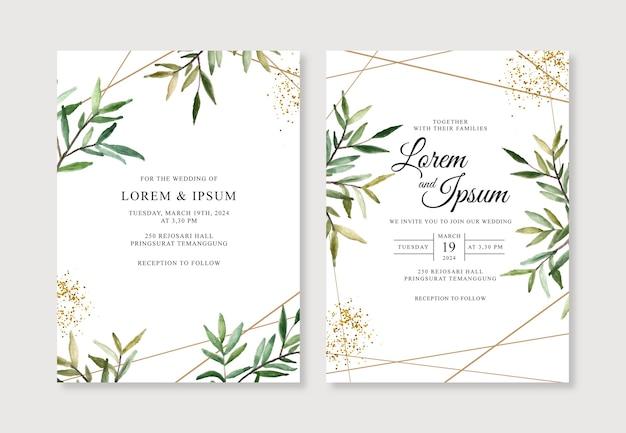 Geometrisch goud voor huwelijksuitnodiging met waterverfgebladerte