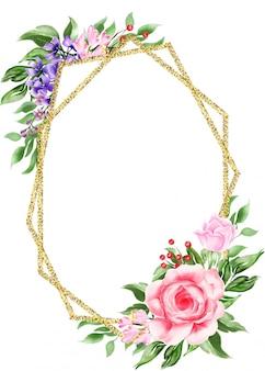 Geometrisch gouden frame van waterverf bloemenboho