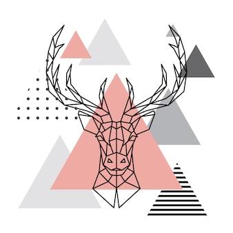 Geometrisch hoofd van herten op scandinavische achtergrond.
