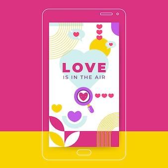 Geometrisch kinderlijk valentijnsdag instagramverhaal