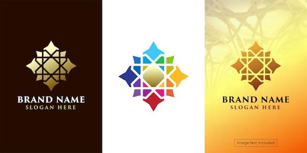 Geometrisch logo met kleurrijke ornamentstijl