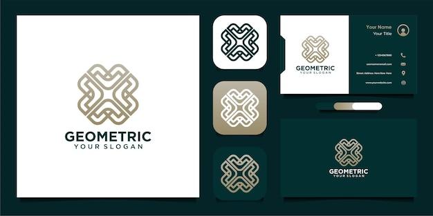 Geometrisch logo-ontwerp met lijnkunststijl