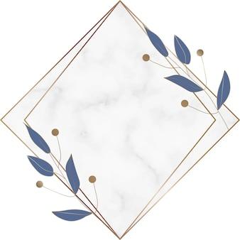 Geometrisch marmeren frame met blauwe bladeren