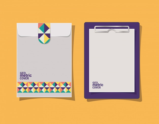 Geometrisch omslagklembord en envelop