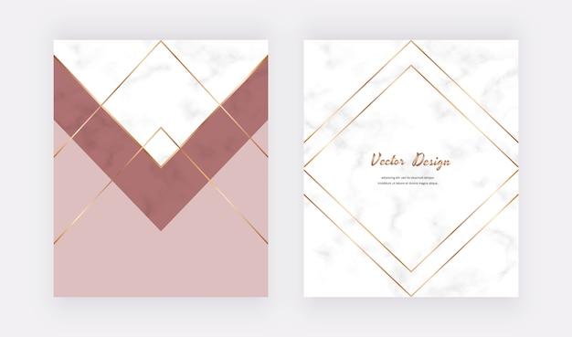 Geometrisch omslagontwerp met nude en gouden driehoeken, lijnen op de marmeren textuur.