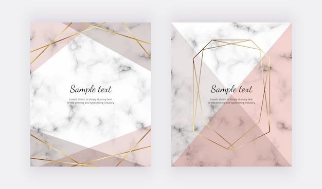 Geometrisch ontwerp met roze driehoeken, gouden lijnen op de marmeren textuur. gouden veelhoekige frame.