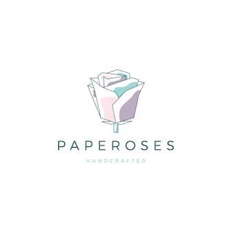 Geometrisch papier bloem roos logo