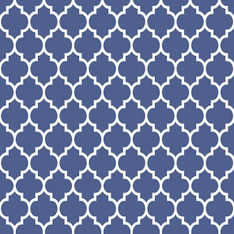 Geometrisch patroon in arabische stijl, blauw en wit ornament