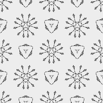 Geometrisch patroon met driehoek en etnische bloemencirkels
