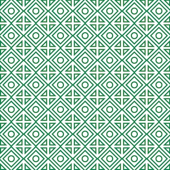 Geometrisch patroon met ruiten, cirkels en driehoeken.