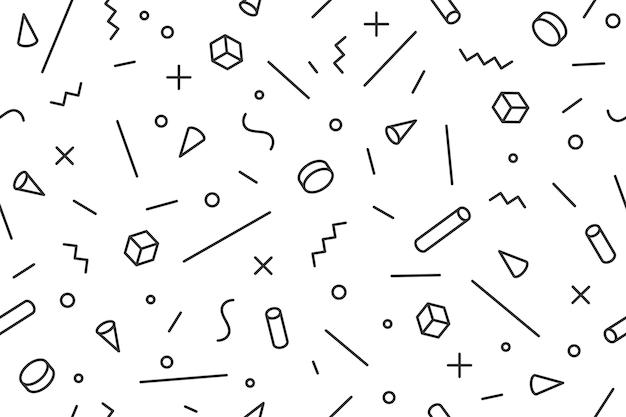 Geometrisch patroon. naadloze grafische patroon 80s-90s trendy stijlen, zwarte achtergrond. zwart wit patroon met verschillende vormen objecten voor inpakpapier, achtergrond.