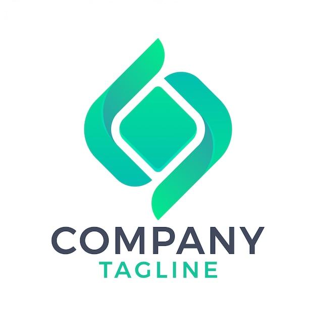 Geometrisch vierkant diamant groen logo-ontwerp