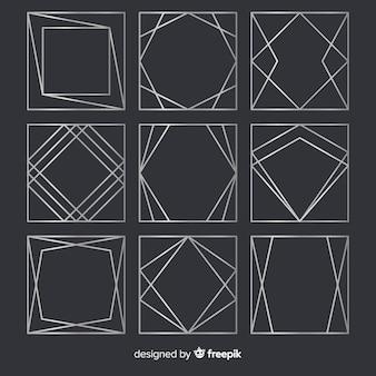 Geometrisch zilveren frame-pakket