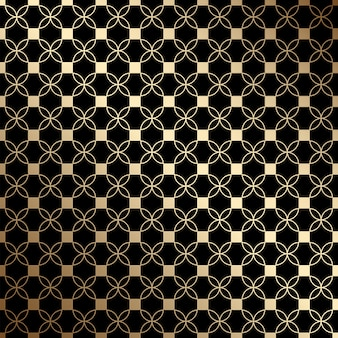 Geometrisch zwart en goud naadloos patroon met gestileerde bloemen, art decostijl