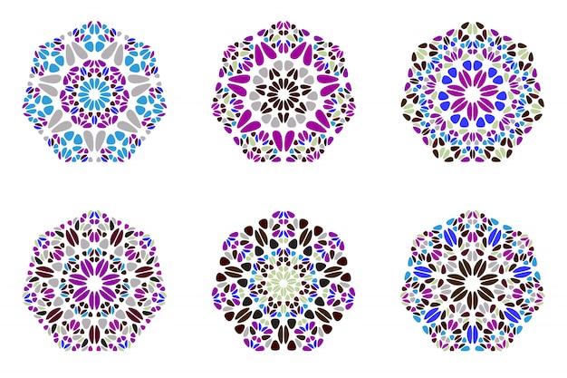 Geometrische abstracte kleurrijke bloemen zevenhoekreeks